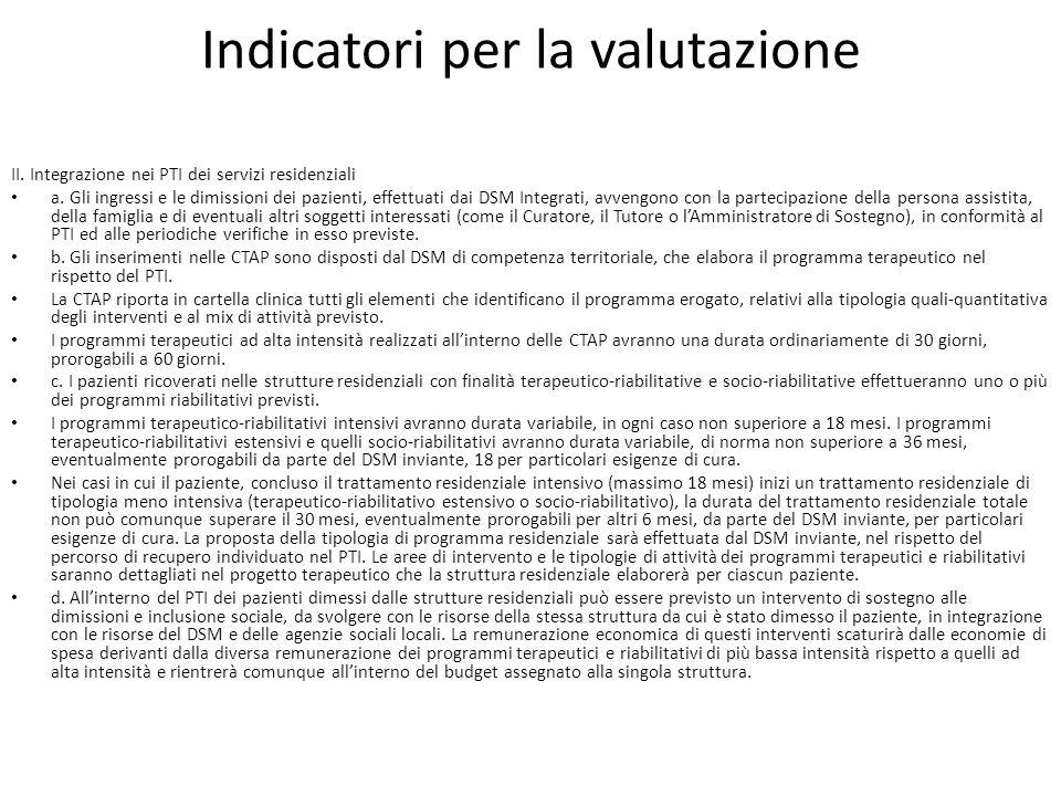 Indicatori per la valutazione II. Integrazione nei PTI dei servizi residenziali a. Gli ingressi e le dimissioni dei pazienti, effettuati dai DSM Integ