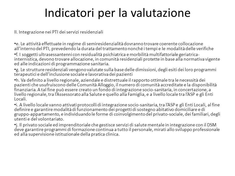 Indicatori per la valutazione II. Integrazione nei PTI dei servizi residenziali e. Le attività effettuate in regime di semiresidenzialità dovranno tro