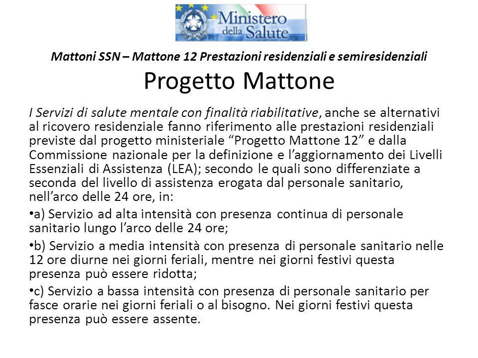 Mattoni SSN – Mattone 12 Prestazioni residenziali e semiresidenziali Progetto Mattone I Servizi di salute mentale con finalità riabilitative, anche se
