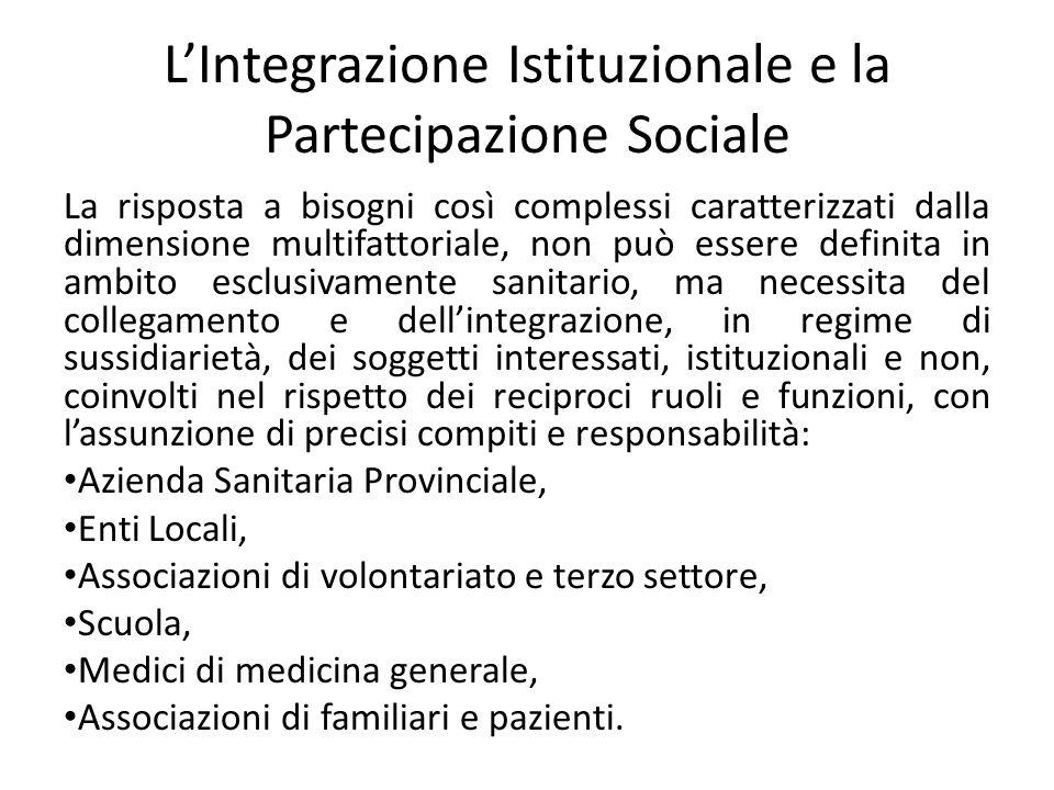 LIntegrazione Istituzionale e la Partecipazione Sociale La risposta a bisogni così complessi caratterizzati dalla dimensione multifattoriale, non può