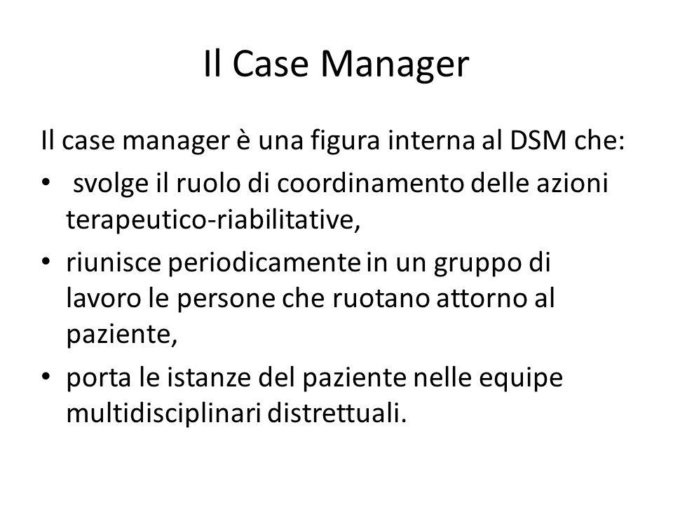 Il Case Manager Il case manager è una figura interna al DSM che: svolge il ruolo di coordinamento delle azioni terapeutico-riabilitative, riunisce per