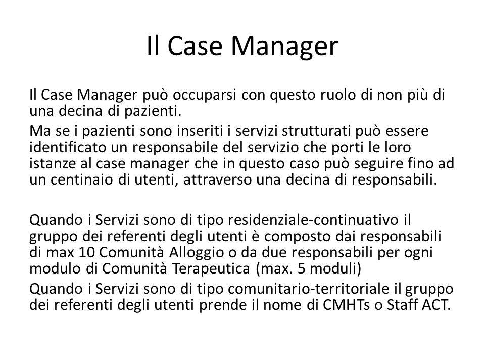 Il Case Manager Il Case Manager può occuparsi con questo ruolo di non più di una decina di pazienti. Ma se i pazienti sono inseriti i servizi struttur