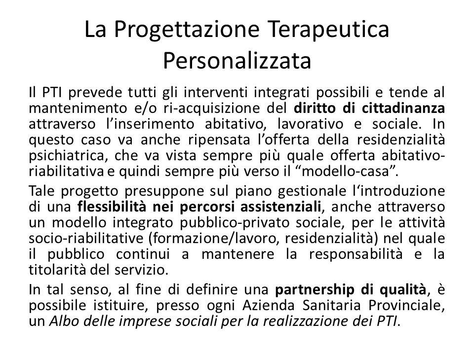 La Progettazione Terapeutica Personalizzata Il PTI prevede tutti gli interventi integrati possibili e tende al mantenimento e/o ri-acquisizione del di
