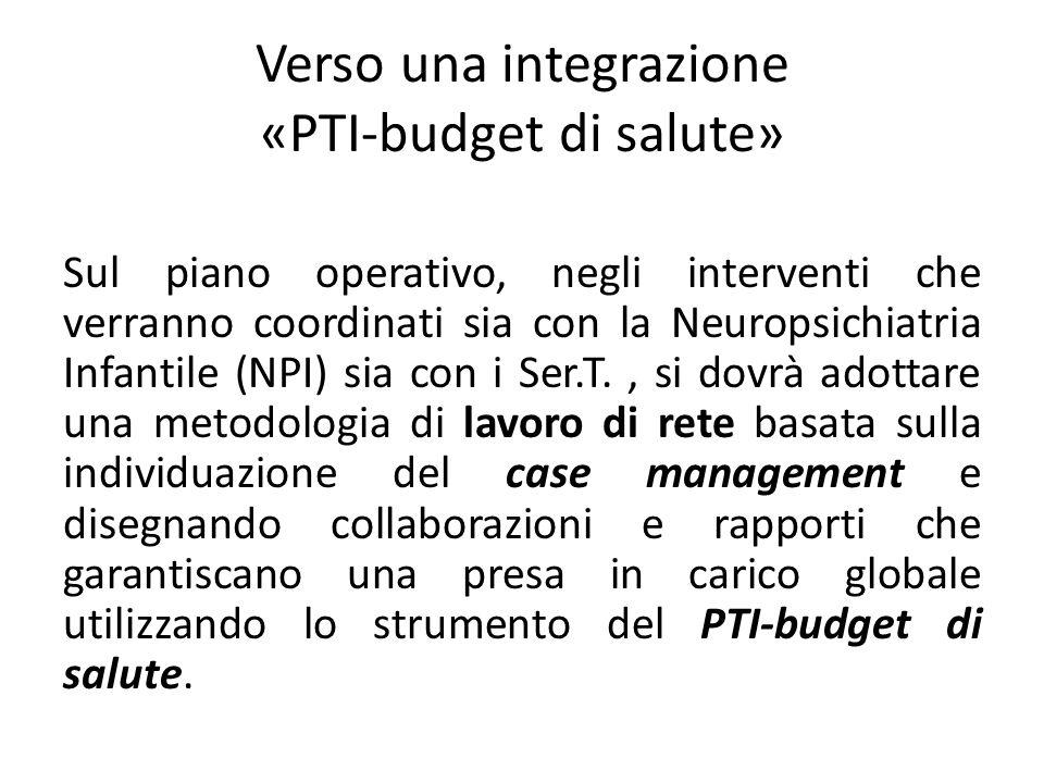 Verso una integrazione «PTI-budget di salute» Sul piano operativo, negli interventi che verranno coordinati sia con la Neuropsichiatria Infantile (NPI