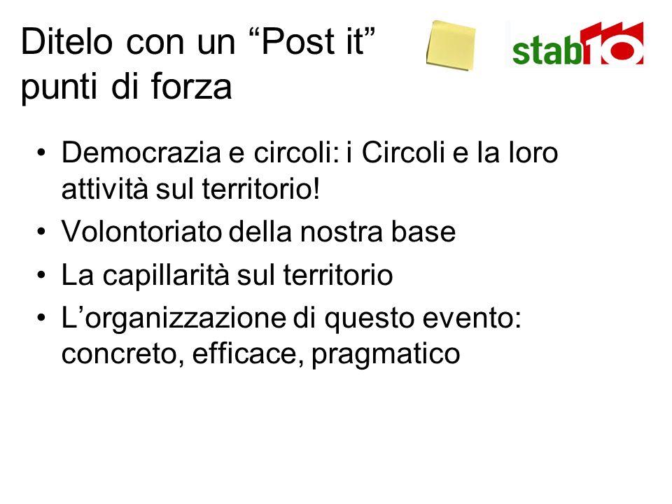 Ditelo con un Post it punti di forza Democrazia e circoli: i Circoli e la loro attività sul territorio.