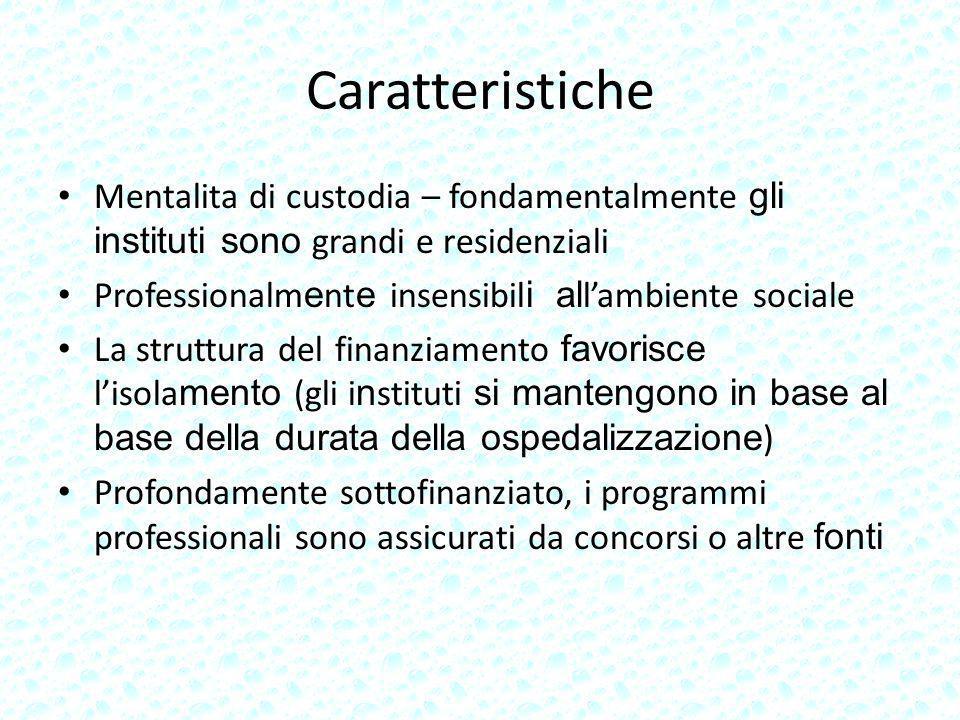 Caratteristiche Mentalita di custodia – fondamentalmente gli instituti sono grandi e residenziali Professionalm e nt e insensibil i al lambiente socia