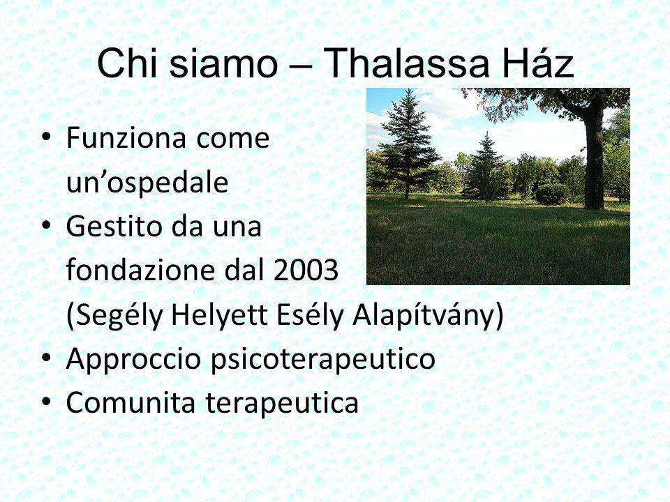 Chi siamo – Thalassa Ház Funziona come unospedale Gestito da una fondazione dal 2003 (Segély Helyett Esély Alapítvány) Approccio psicoterapeutico Comu