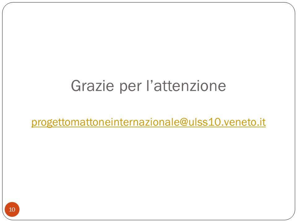 Grazie per lattenzione progettomattoneinternazionale@ulss10.veneto.it progettomattoneinternazionale@ulss10.veneto.it 10