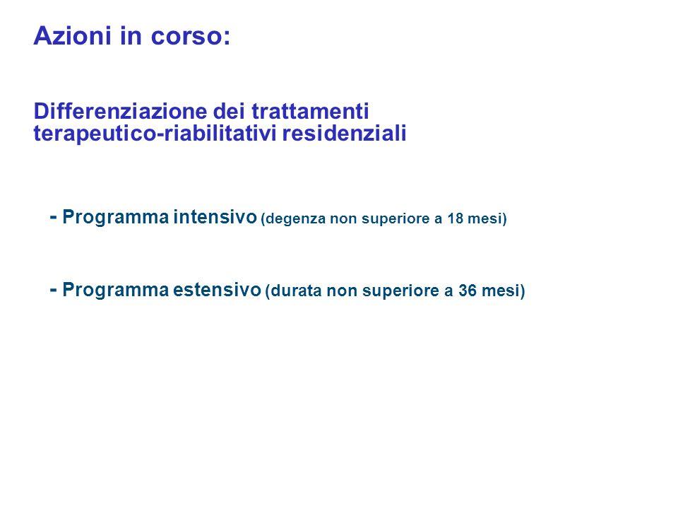 - Programma intensivo (degenza non superiore a 18 mesi) - Programma estensivo (durata non superiore a 36 mesi) Azioni in corso: Differenziazione dei t