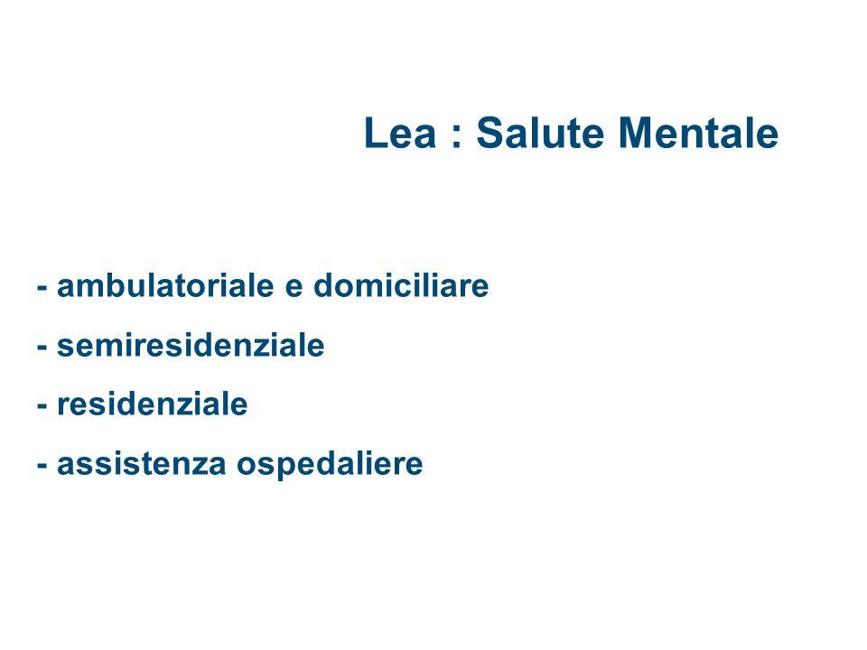 Lea : Salute Mentale - ambulatoriale e domiciliare - semiresidenziale - residenziale - assistenza ospedaliere