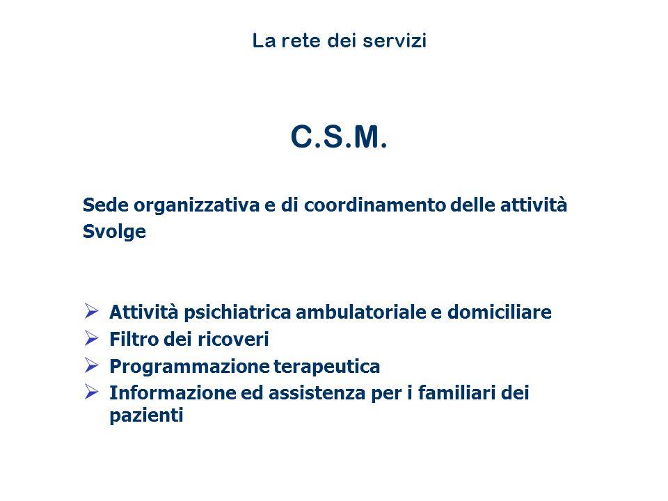 La rete dei servizi C.S.M. Sede organizzativa e di coordinamento delle attività Svolge Attività psichiatrica ambulatoriale e domiciliare Filtro dei ri