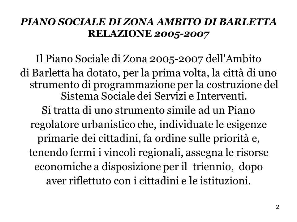 2 PIANO SOCIALE DI ZONA AMBITO DI BARLETTA RELAZIONE 2005-2007 Il Piano Sociale di Zona 2005-2007 dell Ambito di Barletta ha dotato, per la prima volta, la città di uno strumento di programmazione per la costruzione del Sistema Sociale dei Servizi e Interventi.