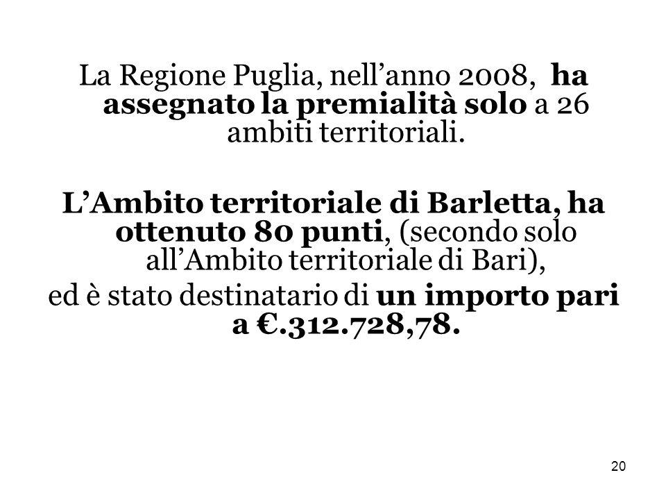 20 La Regione Puglia, nellanno 2008, ha assegnato la premialità solo a 26 ambiti territoriali.