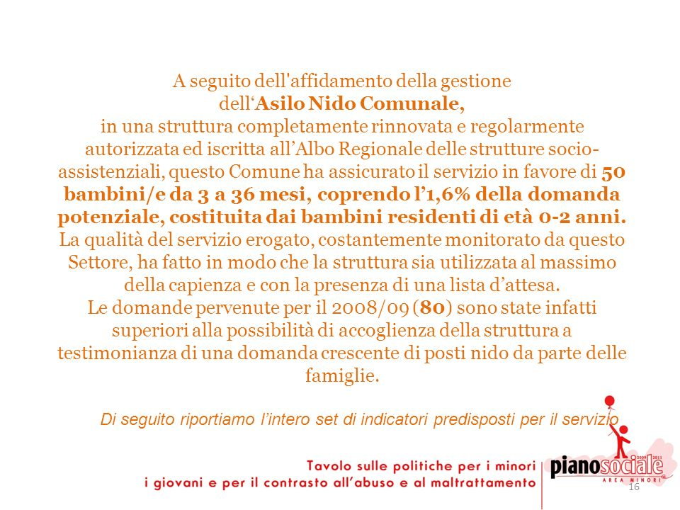 16 A seguito dell'affidamento della gestione dellAsilo Nido Comunale, in una struttura completamente rinnovata e regolarmente autorizzata ed iscritta