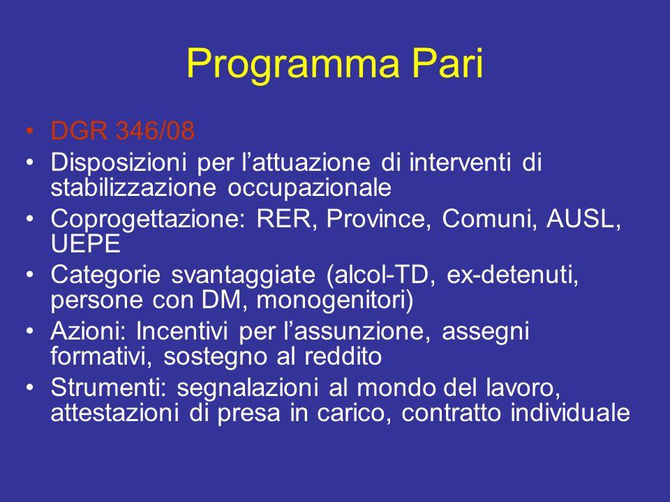 Programma Pari DGR 346/08 Disposizioni per lattuazione di interventi di stabilizzazione occupazionale Coprogettazione: RER, Province, Comuni, AUSL, UE