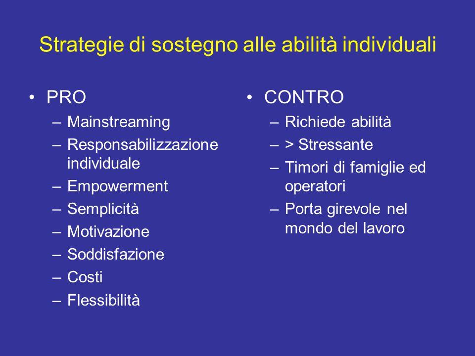 Strategie di sostegno alle abilità individuali PRO –Mainstreaming –Responsabilizzazione individuale –Empowerment –Semplicità –Motivazione –Soddisfazio