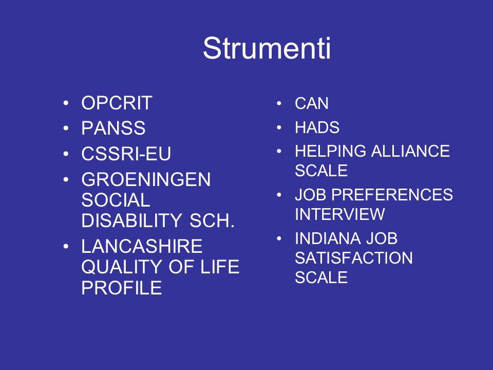 Strumenti OPCRIT PANSS CSSRI-EU GROENINGEN SOCIAL DISABILITY SCH. LANCASHIRE QUALITY OF LIFE PROFILE CAN HADS HELPING ALLIANCE SCALE JOB PREFERENCES I