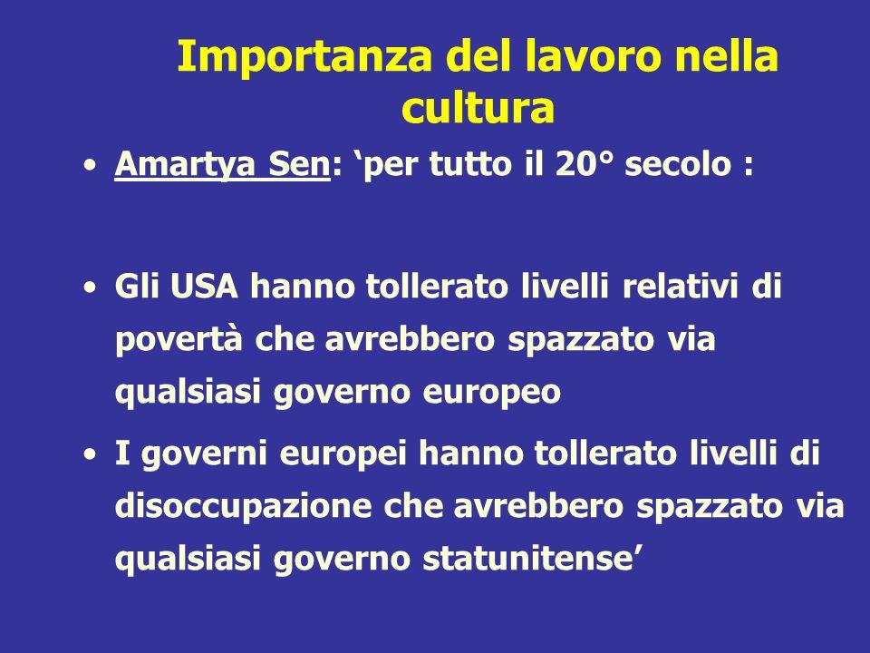Importanza del lavoro nella cultura Amartya Sen: per tutto il 20° secolo : Gli USA hanno tollerato livelli relativi di povertà che avrebbero spazzato