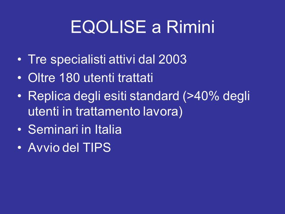 EQOLISE a Rimini Tre specialisti attivi dal 2003 Oltre 180 utenti trattati Replica degli esiti standard (>40% degli utenti in trattamento lavora) Semi