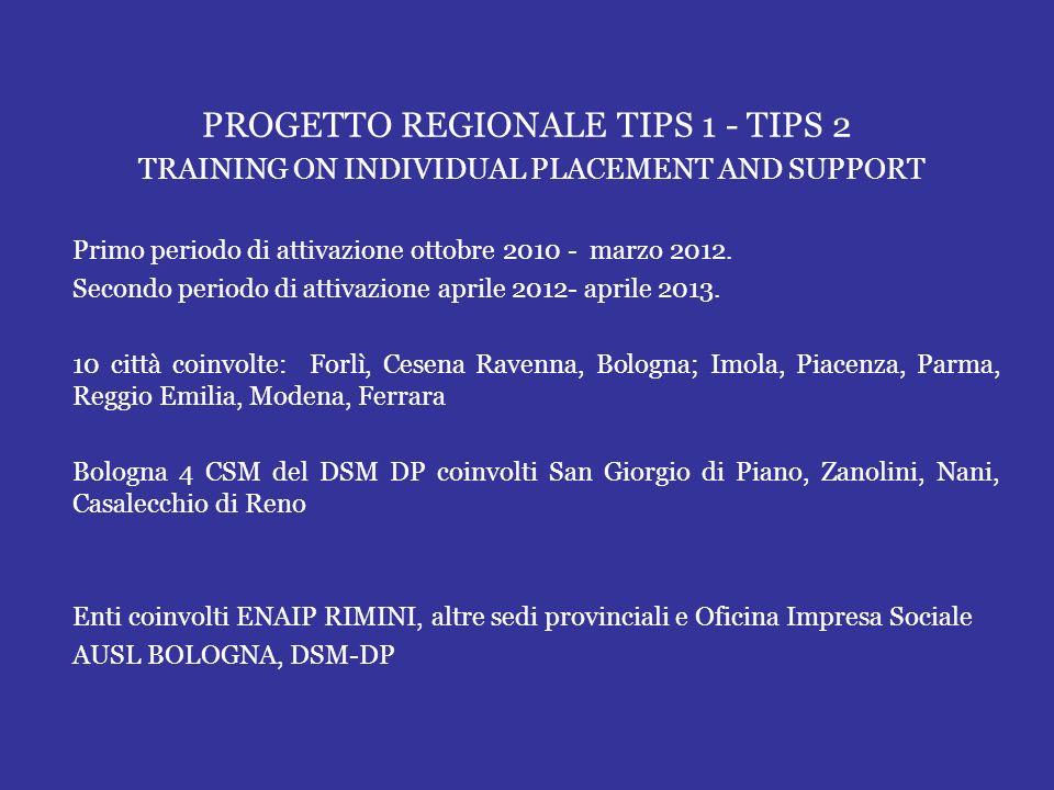 PROGETTO REGIONALE TIPS 1 - TIPS 2 TRAINING ON INDIVIDUAL PLACEMENT AND SUPPORT Primo periodo di attivazione ottobre 2010 - marzo 2012. Secondo period