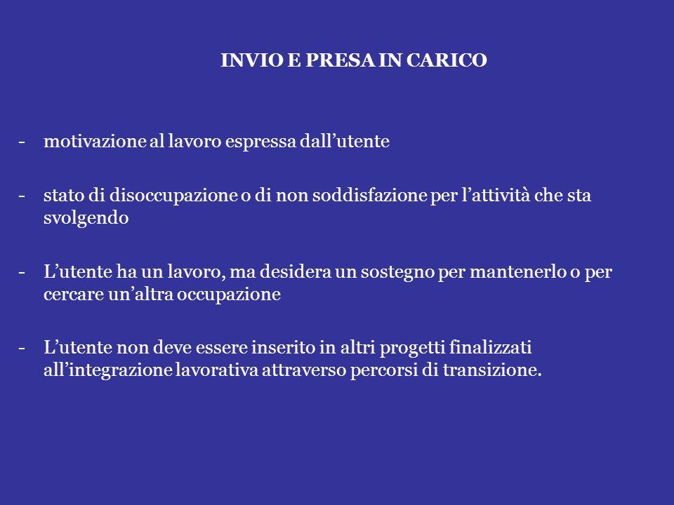 INVIO E PRESA IN CARICO -motivazione al lavoro espressa dallutente -stato di disoccupazione o di non soddisfazione per lattività che sta svolgendo -Lu