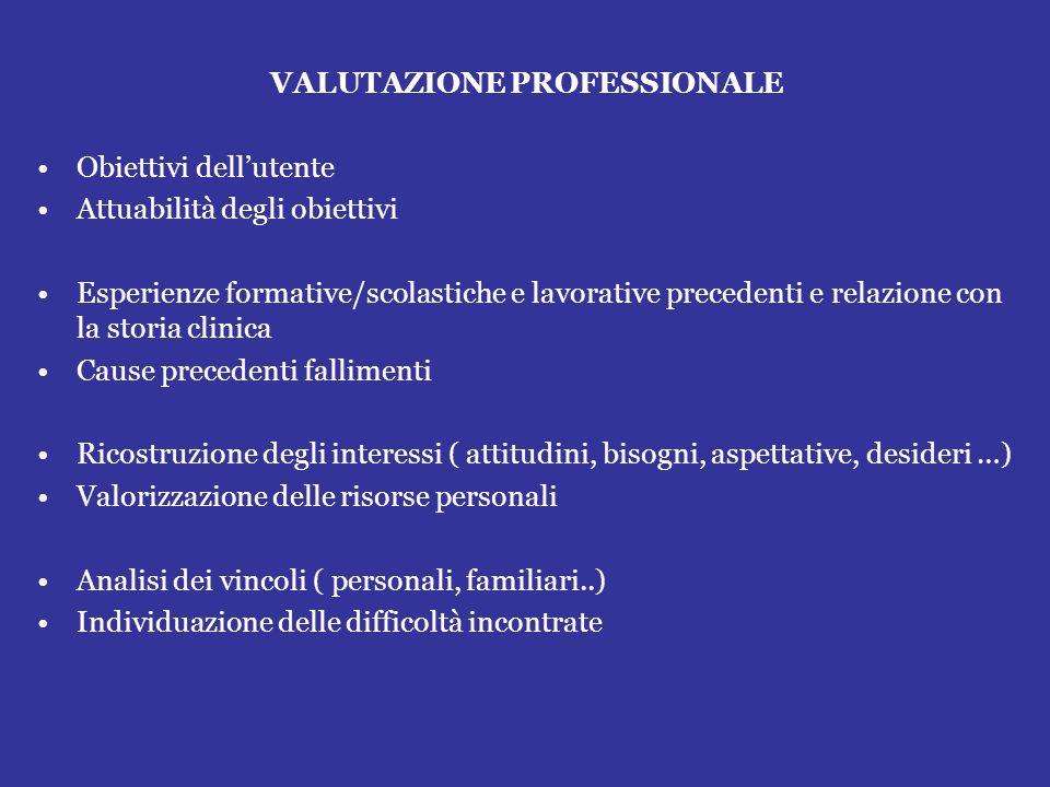 VALUTAZIONE PROFESSIONALE Obiettivi dellutente Attuabilità degli obiettivi Esperienze formative/scolastiche e lavorative precedenti e relazione con la