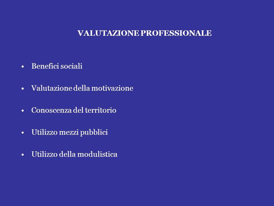 VALUTAZIONE PROFESSIONALE Benefici sociali Valutazione della motivazione Conoscenza del territorio Utilizzo mezzi pubblici Utilizzo della modulistica