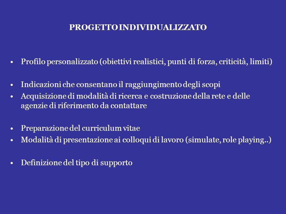 PROGETTO INDIVIDUALIZZATO Profilo personalizzato (obiettivi realistici, punti di forza, criticità, limiti) Indicazioni che consentano il raggiungiment