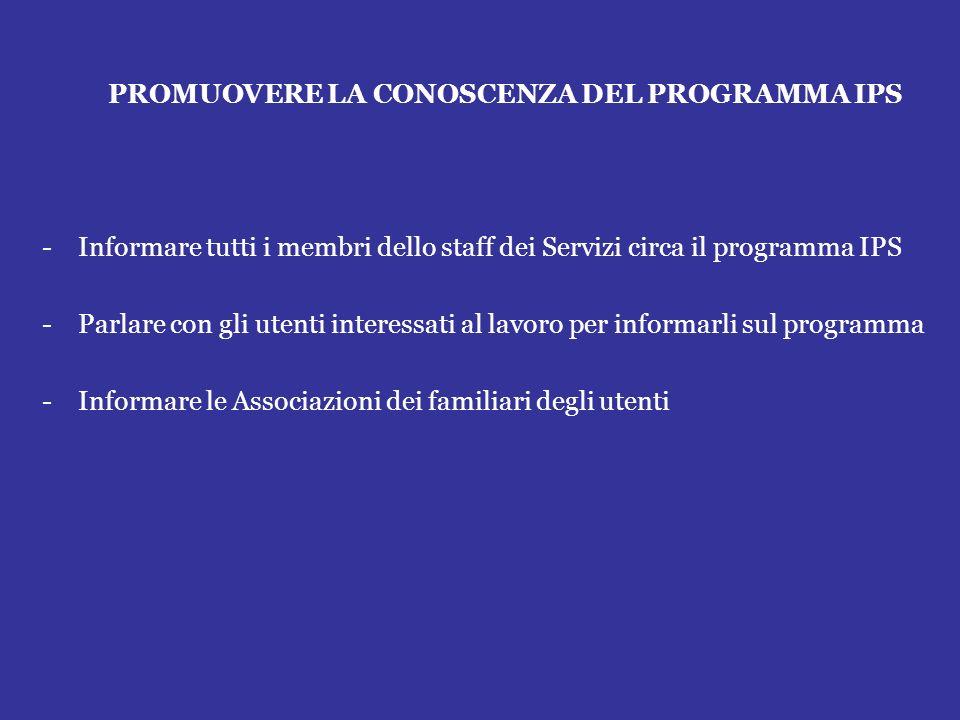 PROMUOVERE LA CONOSCENZA DEL PROGRAMMA IPS -Informare tutti i membri dello staff dei Servizi circa il programma IPS -Parlare con gli utenti interessat