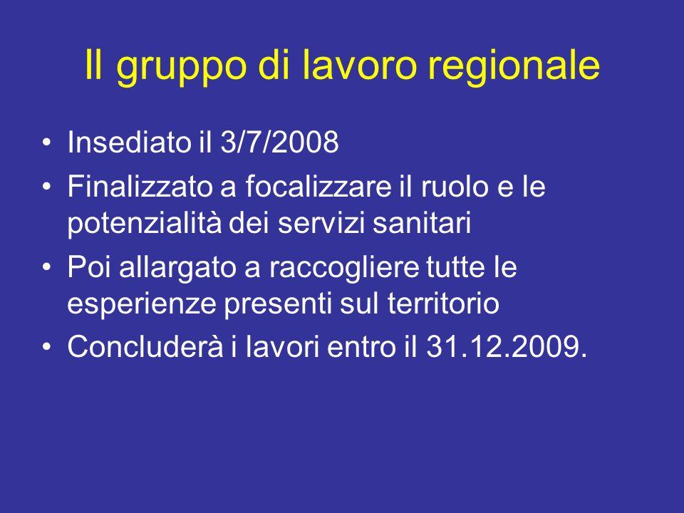 Il gruppo di lavoro regionale Insediato il 3/7/2008 Finalizzato a focalizzare il ruolo e le potenzialità dei servizi sanitari Poi allargato a raccogli