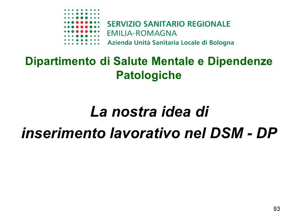 Dipartimento di Salute Mentale e Dipendenze Patologiche La nostra idea di inserimento lavorativo nel DSM - DP 93