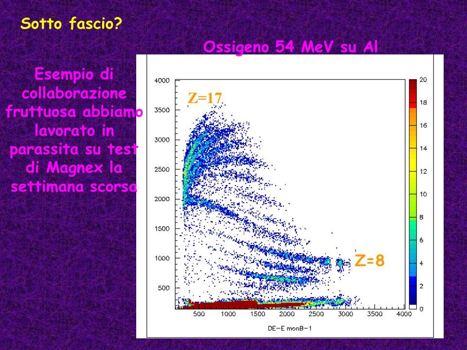 Sotto fascio? Ossigeno 54 MeV su Al Z=8 Z=17 Esempio di collaborazione fruttuosa abbiamo lavorato in parassita su test di Magnex la settimana scorsa