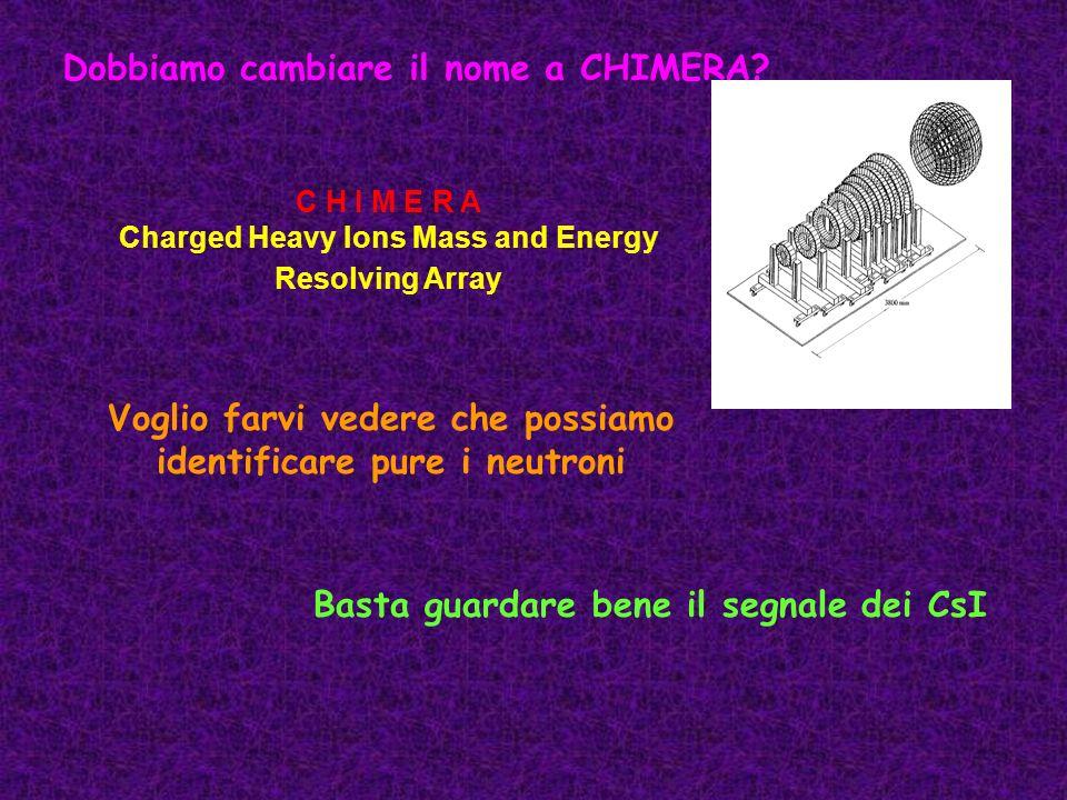 Dobbiamo cambiare il nome a CHIMERA? Voglio farvi vedere che possiamo identificare pure i neutroni C H I M E R A Charged Heavy Ions Mass and Energy Re