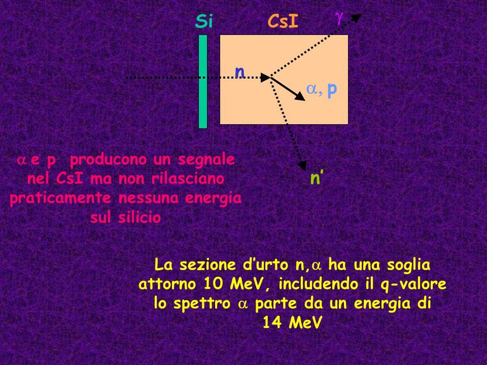 n p SiCsI n e p producono un segnale nel CsI ma non rilasciano praticamente nessuna energia sul silicio La sezione durto n, ha una soglia attorno 10 M