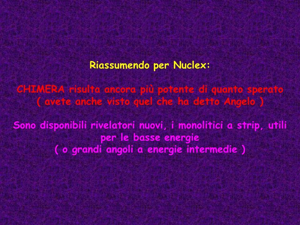Riassumendo per Nuclex: CHIMERA risulta ancora più potente di quanto sperato ( avete anche visto quel che ha detto Angelo ) Sono disponibili rivelator