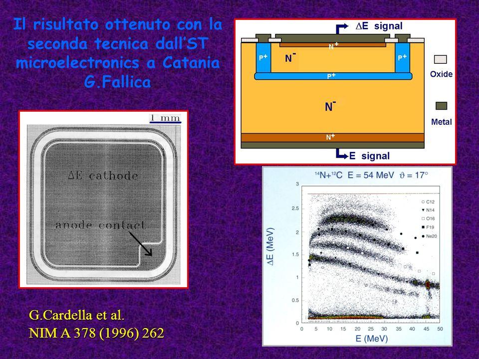 Il risultato ottenuto con la seconda tecnica dallST microelectronics a Catania G.Fallica G.Cardella et al. NIM A 378 (1996) 262