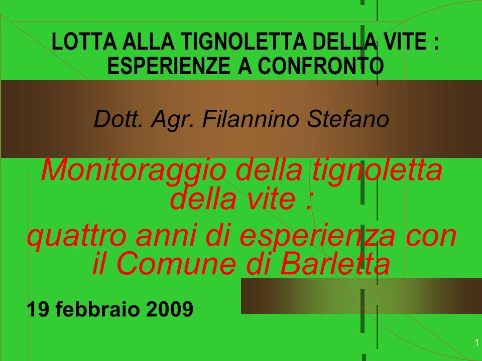 2 PIANO DI RIDUZIONE DELLUSO DEGLI AGROFARMACI NELLAGRO DI BARLETTA Dott.