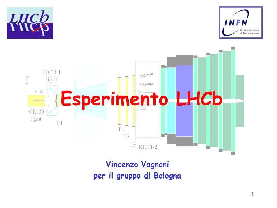 1 Esperimento LHCb Vincenzo Vagnoni per il gruppo di Bologna