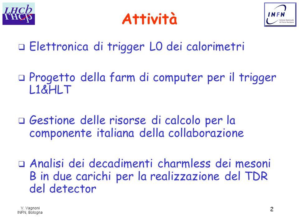 V. Vagnoni INFN, Bologna 2 Attività Elettronica di trigger L0 dei calorimetri Progetto della farm di computer per il trigger L1&HLT Gestione delle ris