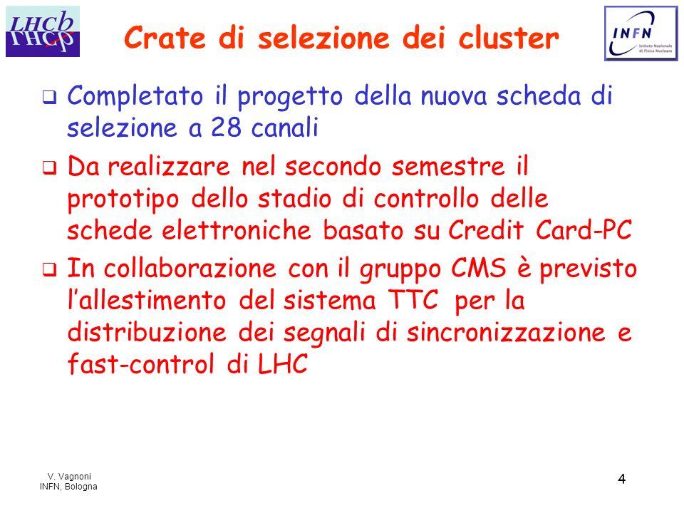 V. Vagnoni INFN, Bologna 4 Crate di selezione dei cluster Completato il progetto della nuova scheda di selezione a 28 canali Da realizzare nel secondo