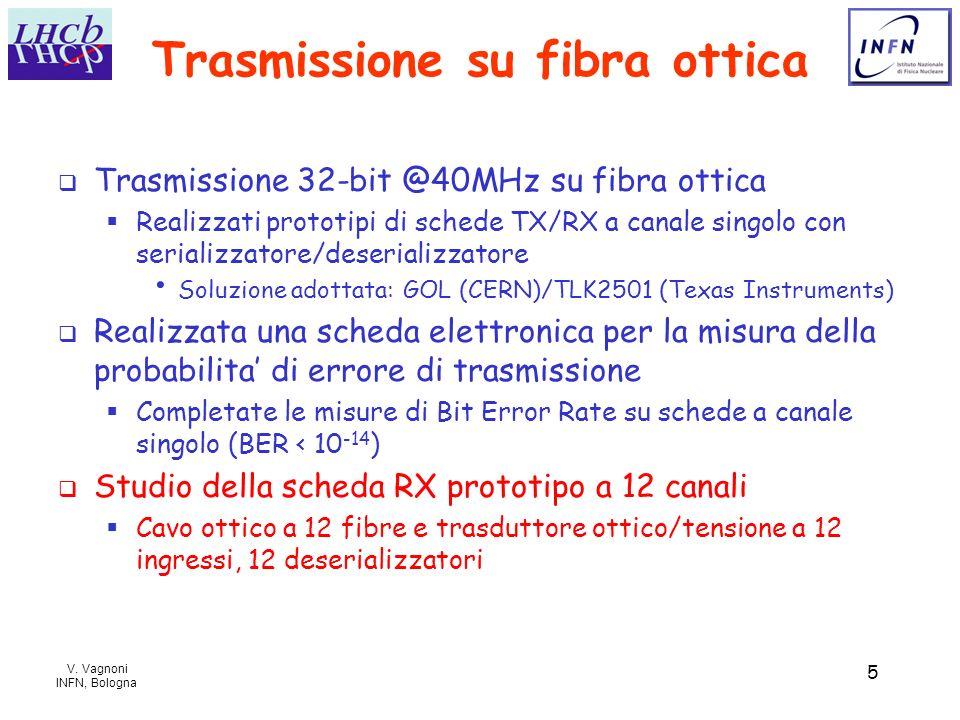 V. Vagnoni INFN, Bologna 5 Trasmissione su fibra ottica Trasmissione 32-bit @40MHz su fibra ottica Realizzati prototipi di schede TX/RX a canale singo