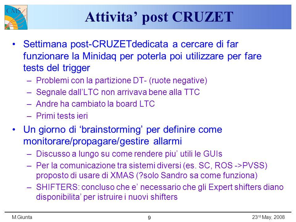 M.Giunta23 rd May, 2008 99 Attivita post CRUZET Settimana post-CRUZETdedicata a cercare di far funzionare la Minidaq per poterla poi utilizzare per fare tests del trigger –Problemi con la partizione DT- (ruote negative) –Segnale dallLTC non arrivava bene alla TTC –Andre ha cambiato la board LTC –Primi tests ieri Un giorno di brainstorming per definire come monitorare/propagare/gestire allarmi –Discusso a lungo su come rendere piu utili le GUIs –Per la comunicazione tra sistemi diversi (es.