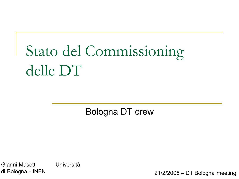 Gianni Masetti Università di Bologna - INFN 21/2/2008 – DT Bologna meeting Stato del Commissioning delle DT Bologna DT crew