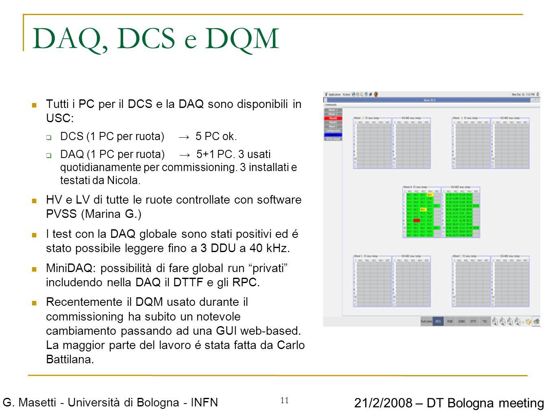 11 G. Masetti - Università di Bologna - INFN 21/2/2008 – DT Bologna meeting DAQ, DCS e DQM Tutti i PC per il DCS e la DAQ sono disponibili in USC: DCS