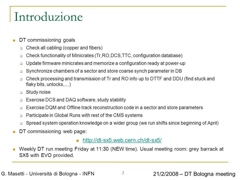 2 G. Masetti - Università di Bologna - INFN 21/2/2008 – DT Bologna meeting Introduzione DT commissioning goals Check all cabling (copper and fibers) C