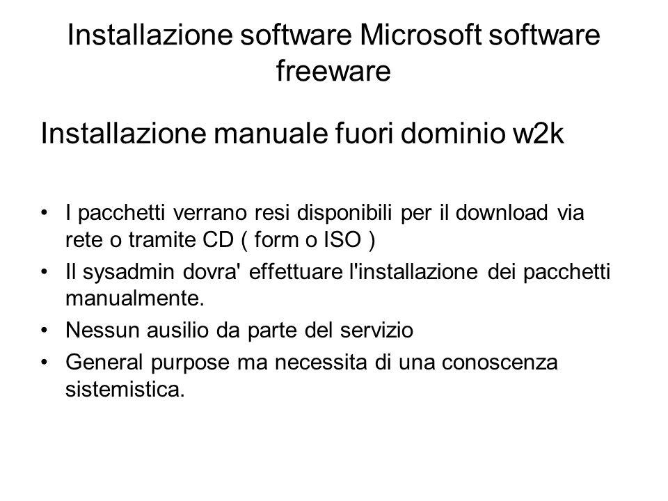 Installazione software Microsoft software freeware Installazione manuale fuori dominio w2k I pacchetti verrano resi disponibili per il download via rete o tramite CD ( form o ISO ) Il sysadmin dovra effettuare l installazione dei pacchetti manualmente.