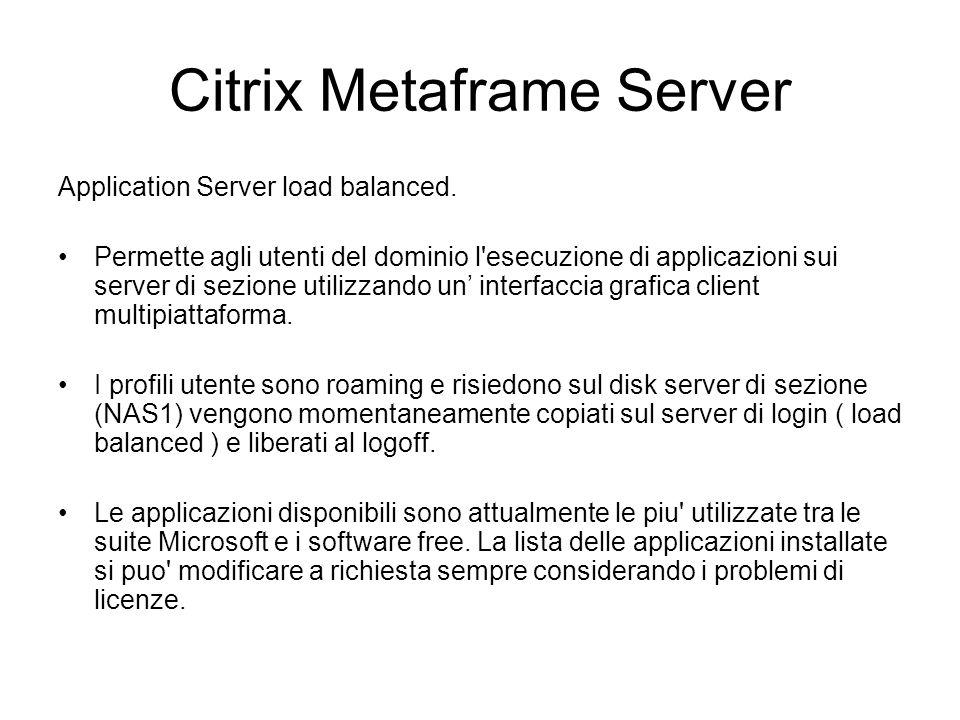 Citrix Metaframe Server Necessita di : Un account utente nel dominio AD w2k ( form ) L installazione di un pacchetto client per la piattaforma utilizzata.