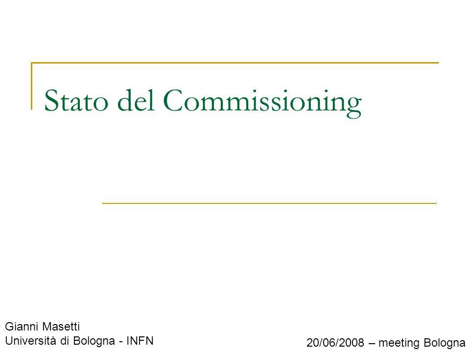 Gianni Masetti Università di Bologna - INFN 20/06/2008 – meeting Bologna Stato del Commissioning