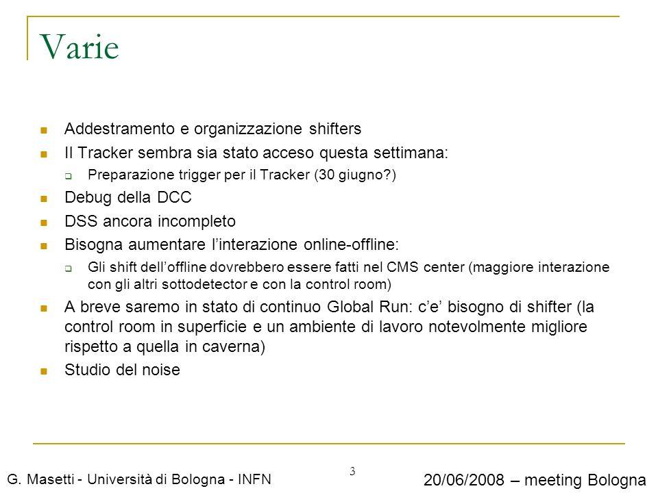G. Masetti - Università di Bologna - INFN 20/06/2008 – meeting Bologna Varie Addestramento e organizzazione shifters Il Tracker sembra sia stato acces