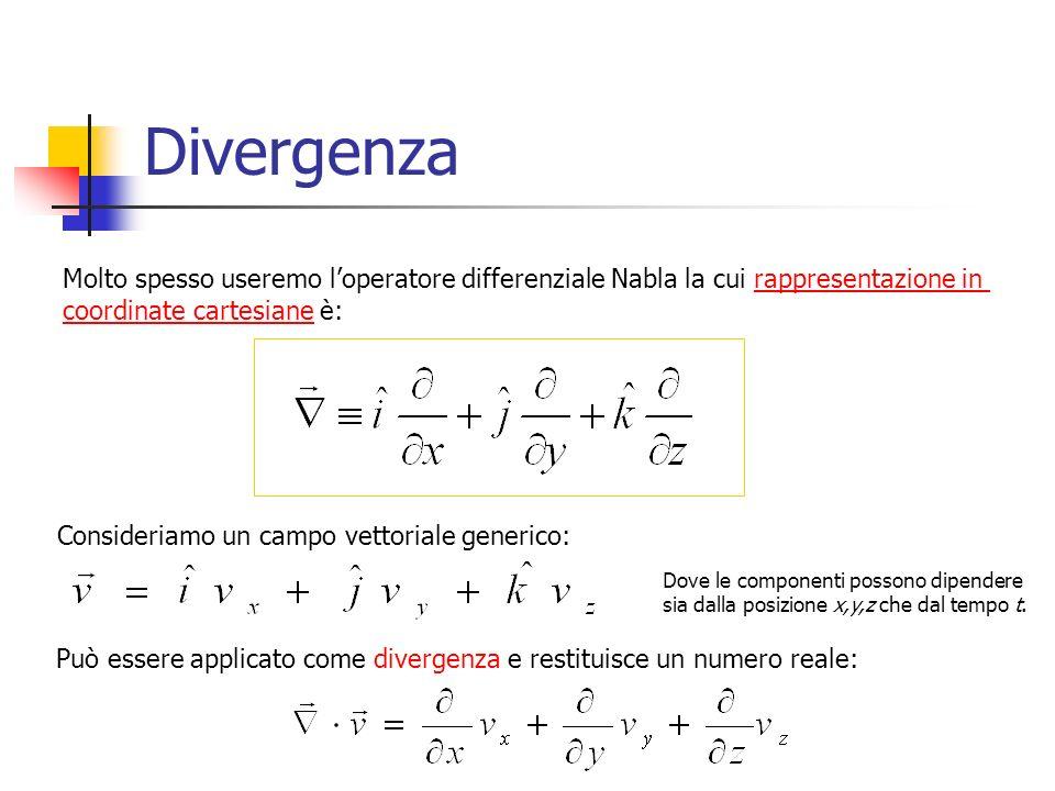 Divergenza Molto spesso useremo loperatore differenziale Nabla la cui rappresentazione in coordinate cartesiane è: Può essere applicato come divergenza e restituisce un numero reale: Consideriamo un campo vettoriale generico: Dove le componenti possono dipendere sia dalla posizione x,y,z che dal tempo t.